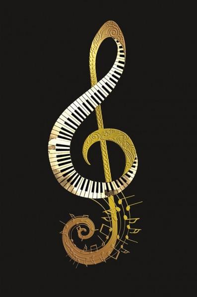 Doppelkarte Violinschlüssel gold/Tastatur