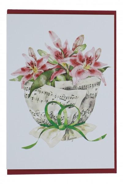 Doppelkarte, Notenstrauß, verschiedene Blumen