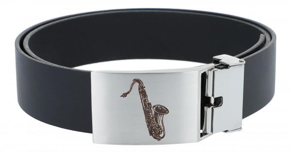 Ledergürtel mit Metallschließe, Motiv Saxophon