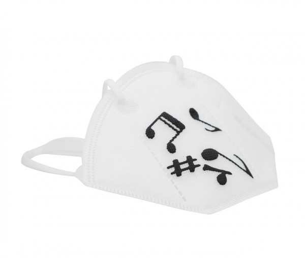 FFP2-Maske weiß mit schwarzem Notenmix-Druck
