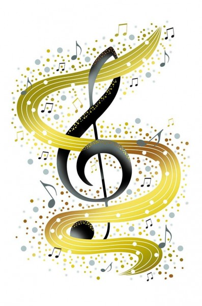 DK Violinschlüssel mit goldenem Notenband