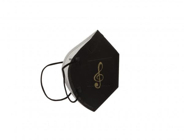 schwarze FFP2-Maske mit gedrucktem Violinschlüssel