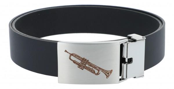 Ledergürtel mit Metallschließe, Motiv Trompete