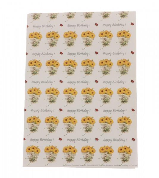 Geschenkpapier-Bogen Notenblatt mit Sonnenblumen