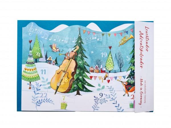 Doppelkarte Adventskalender musikalische Weihnachten