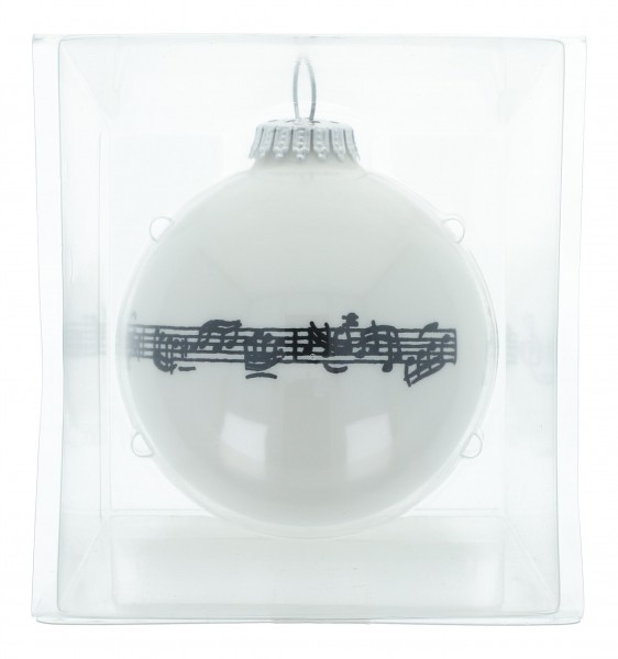 hochwertige Notenlinien-Weihnachtskugel  in Geschenkbox