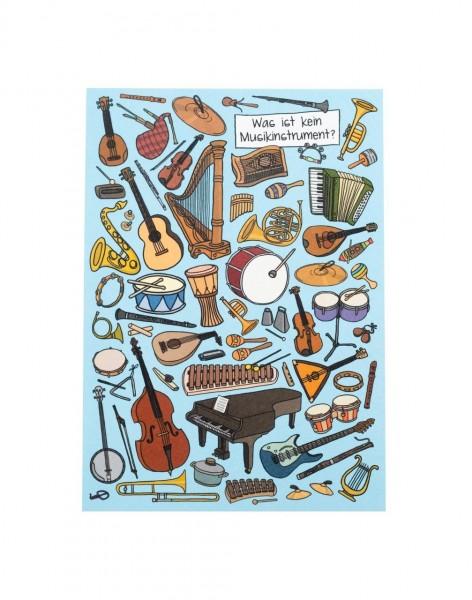 """Postkarte veredelt """"Was ist kein Musikinstrument?"""""""