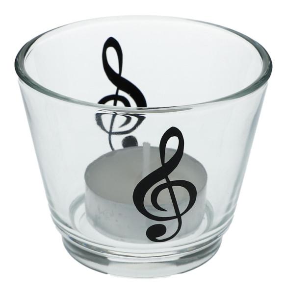 Teelichtglas mit Musik-Motiven, Windlicht
