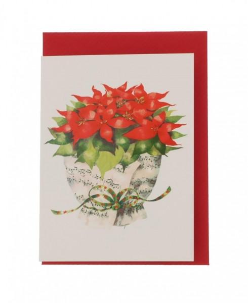 Mini Doppelkarte Notenblatt mit Weihnachtsstern