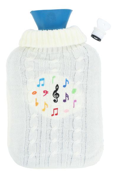 Wärmflasche mit Zopfmuster-Strickbezug