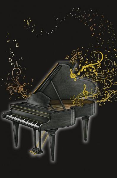 Doppelkarte Piano und goldene Noten