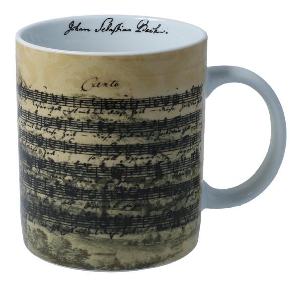 Henkelbecher mit verschiedenen Komponisten-Facsimile